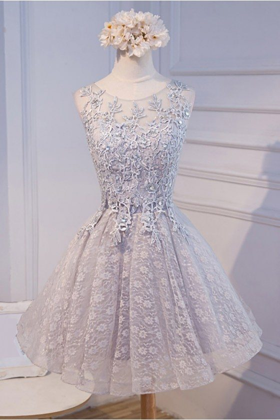Short Grey Lace Tulle Homecoming Party Dress Sleeveless