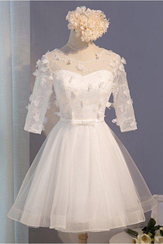 Modest Short Tulle Homecoming Party Dress With Petals Half Sleeves