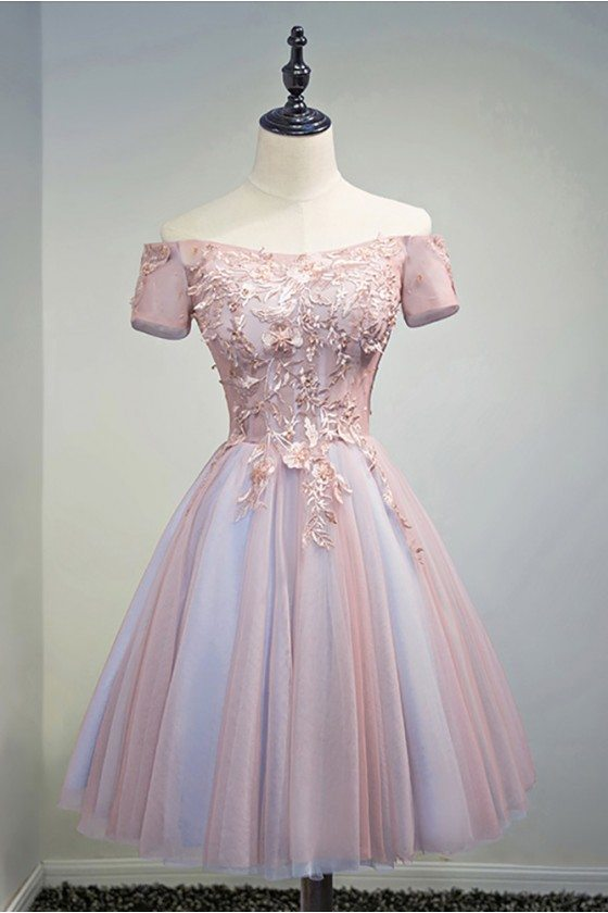 Unique Off Shoulder Pink Short Prom Party Dress With Lace Back
