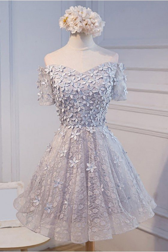 Silver Grey Off The Shoulder Short Party Dress With Flowers