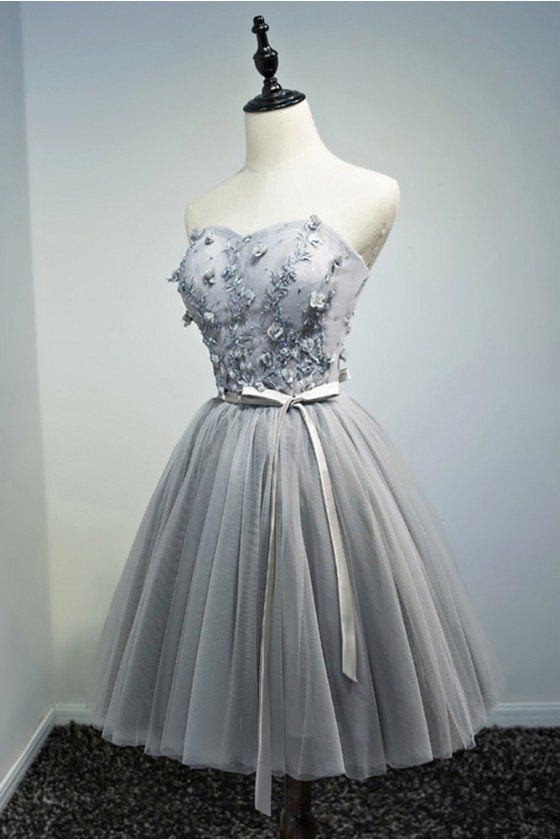 Beaded Grey Tulle Short Prom Homecoming Dress With Flowers
