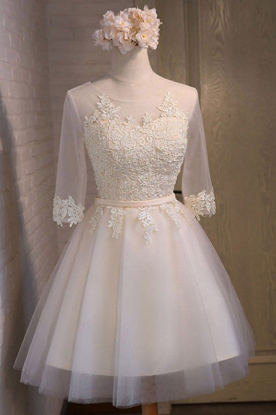 Modest Champagne Short Sleeve Homecoming Party Dress With Lace