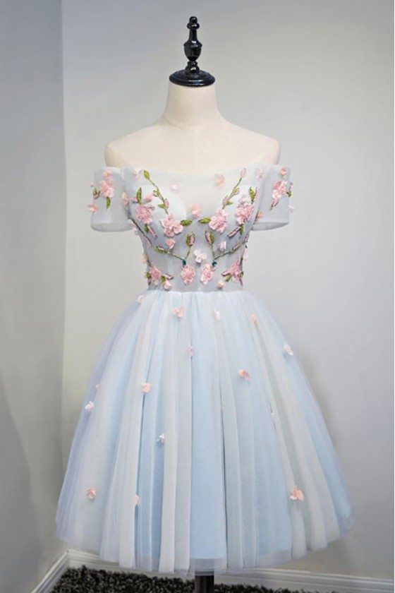 Cute Dusty Blue Flowers Short Prom Homecoming Dress With Off Shoulder Sleeves