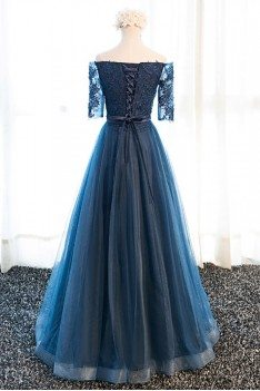 af8d77e173e9 ... Gorgeous Navy Blue Long Tulle Prom Dress Off The Shoulder Sleeves.  Previous. Next