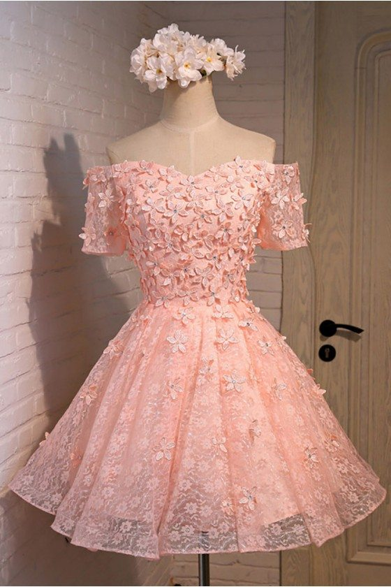 Cute Pink Off The Shoulder Short Lace Homecoming Party Dress With Sleeves