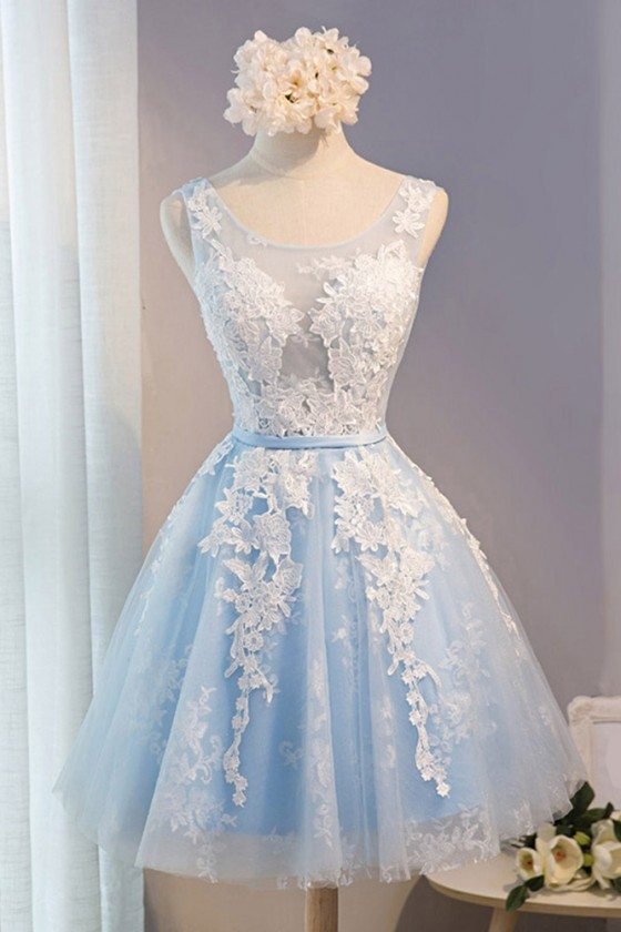 Gorgeous White With Blue Short Formal Party Dress With Lace Sleeveless
