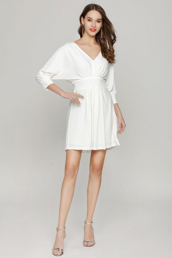 Simple Short White V Neck Prom Dress With Dolman Sleeves
