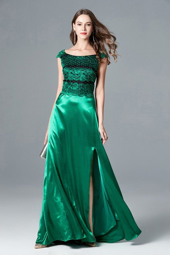 Split Long Green Cap Sleeve Formal Dress With Lace Beading Bodice