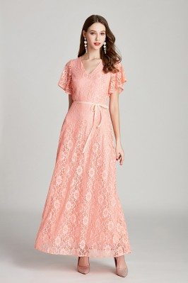 Elegant Long Pink Lace V...