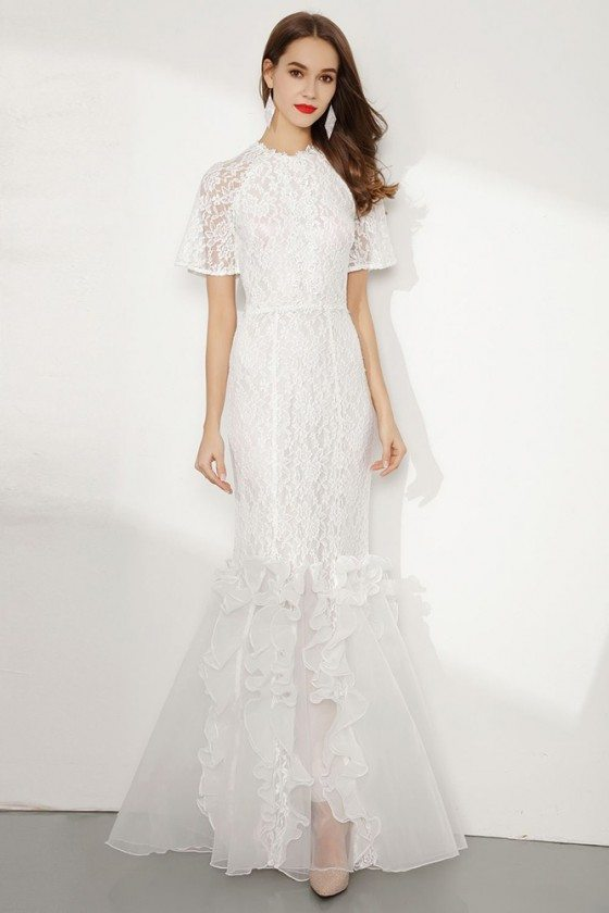 Modest Mermaid White Lace Prom Dress Long With Short Sleeves