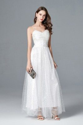 Long White Sequin Tulle...