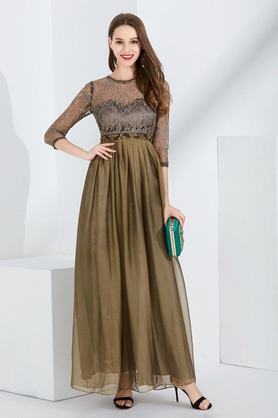 Beaded Waist Chiffon Long Brown Party Dress With Lace Bodice Sleeves