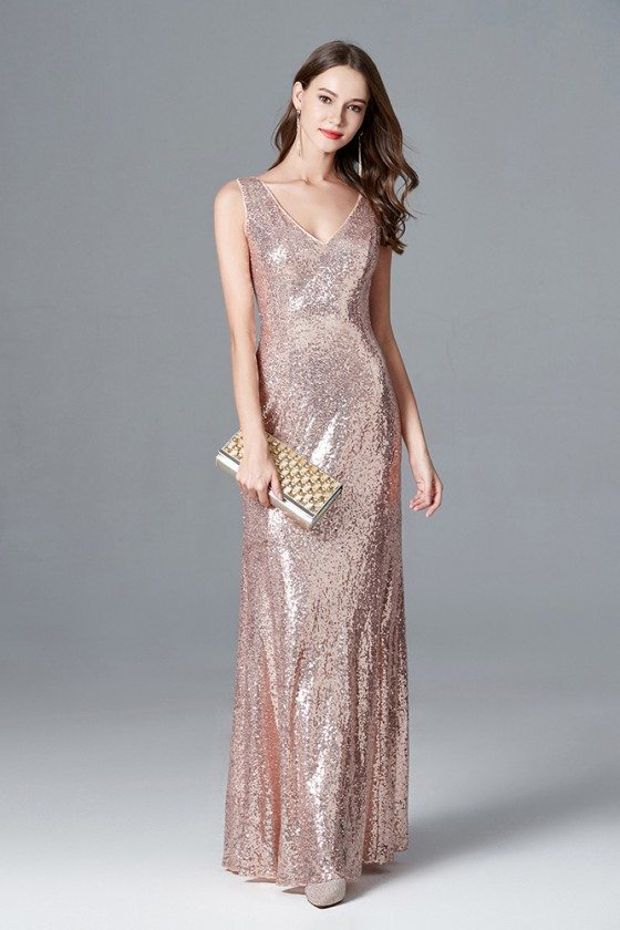 Sparkly Rose Gold Sequin Mermaid Evening Dress Long