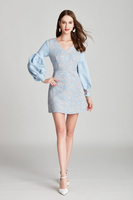 Blue Lace Cotton Short Prom Dress V Neck With Long Bubble Sleeves