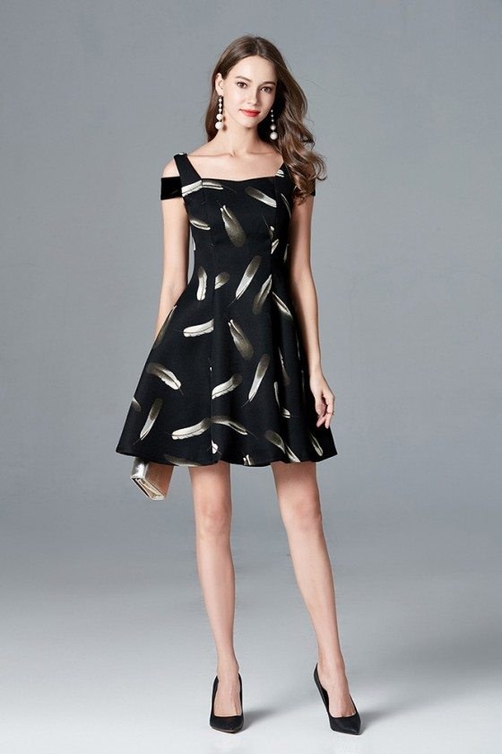 Feather Printed A Line Black Short Party Dress With Cold Shoulder