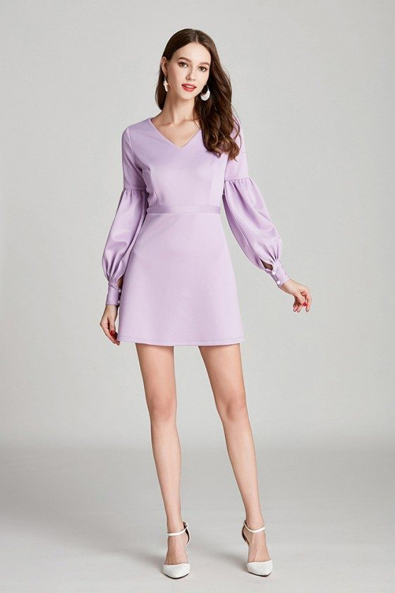 Simple V Neck Short Lilac Cotton Prom Dress With Long Bubble Sleeves