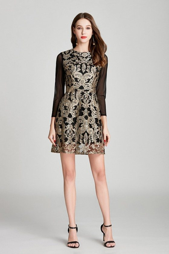 Black Short Embroidery Lace Tulle Formal Dress With Long Sleeves