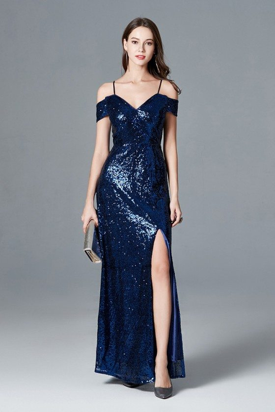 Sparkly Sequined Slit Navy Blue Evening Dress With Off Shoulder Straps
