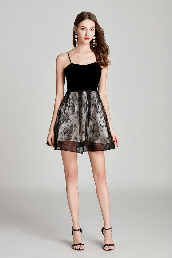 Girl's Short Lace Little Black Prom Dress With Spaghetti Straps