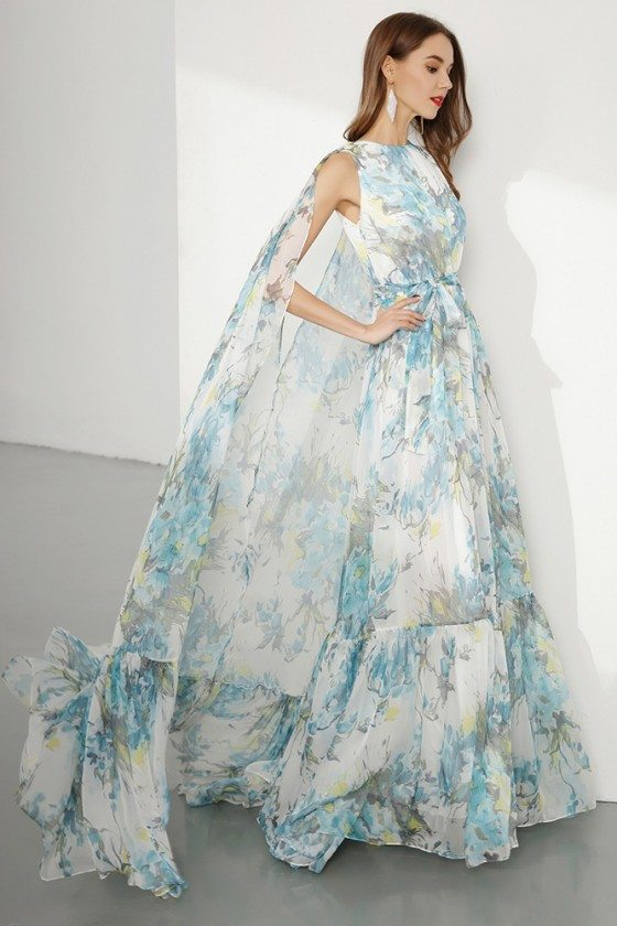 Chiffon Long Floral Printed Blue Prom Dress For Formal Occasion