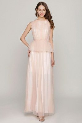 Peach Long Tulle Ruched...