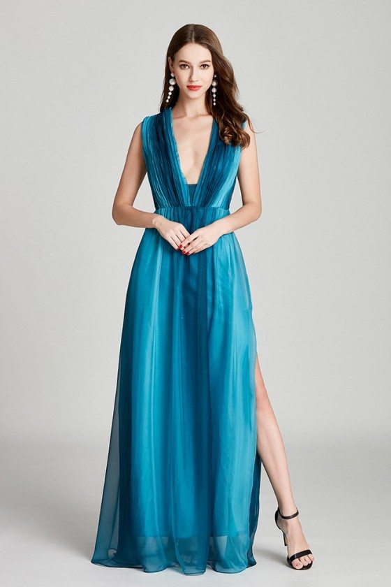 Ombre Blue Chiffon Long Slit Pleated Prom Dress With V