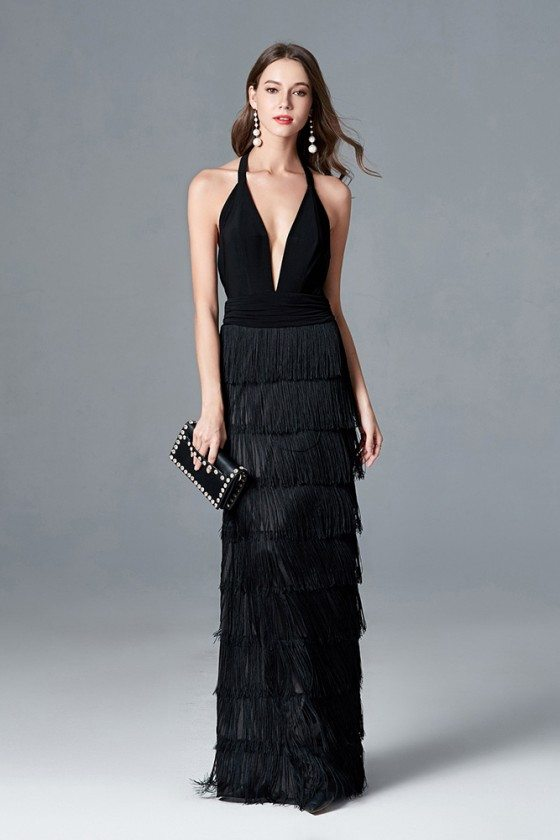Sexy Fringes Layered Black Long Prom Dress With Deep V Halter Neck