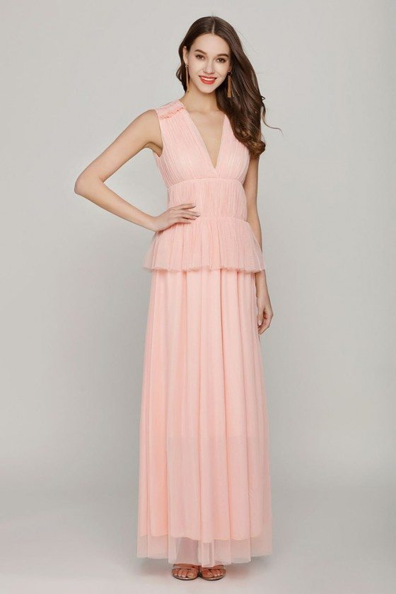 Long Pink Sleeveless Formal Dress V Neck For Woman