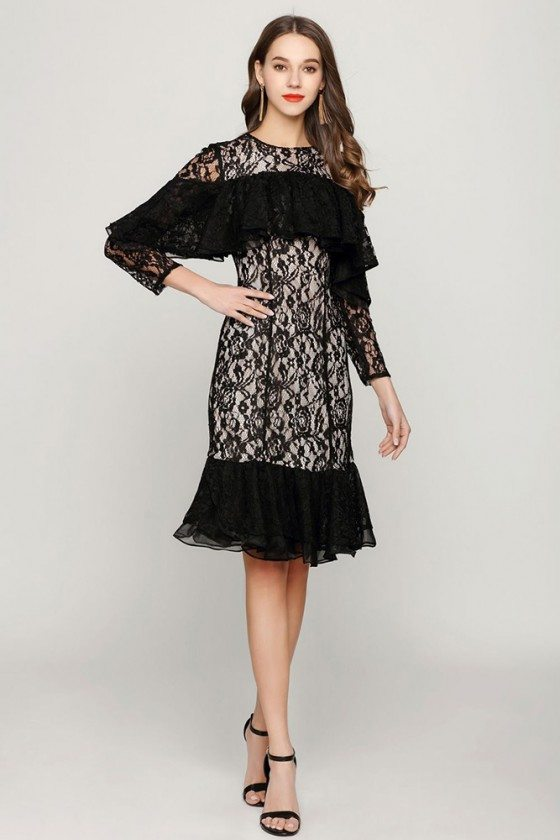 Unique Black Short Lace Prom Dress With Flounce Sleeves