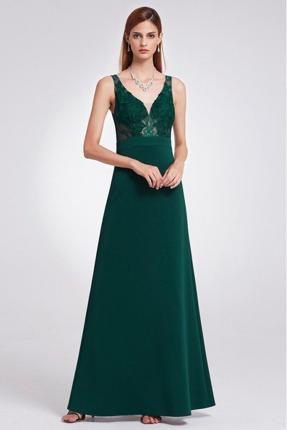 A Line Dark Green Long Evening Dress With Lace Bodice
