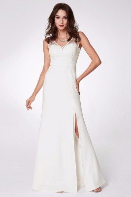 Split Long White Chiffon...