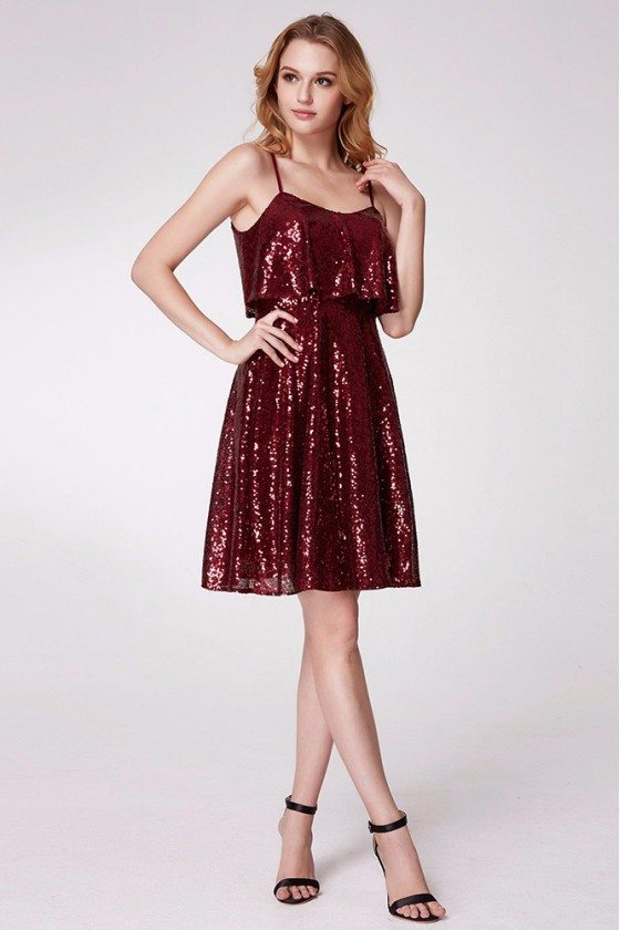 Sparkly Sequined Burgundy Short Ruffled Prom Dress