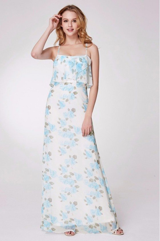 Long Blue Floral Print Bridesmaid Dress With Spaghetti Straps