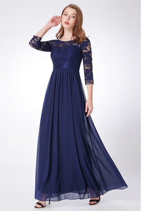 Empire Waist Navy Blue Lace Chiffon Formal Dress Long Sleeves