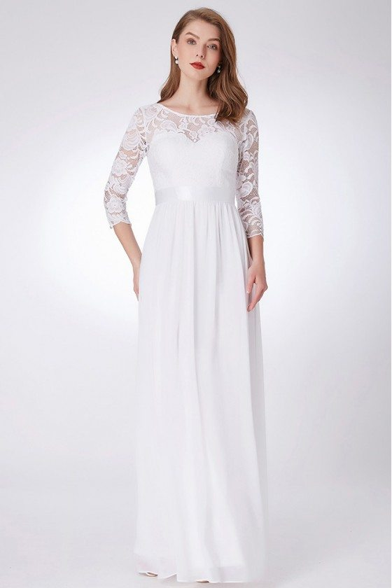 3/4 Sleeves Long White Formal Dress With Empire Waist