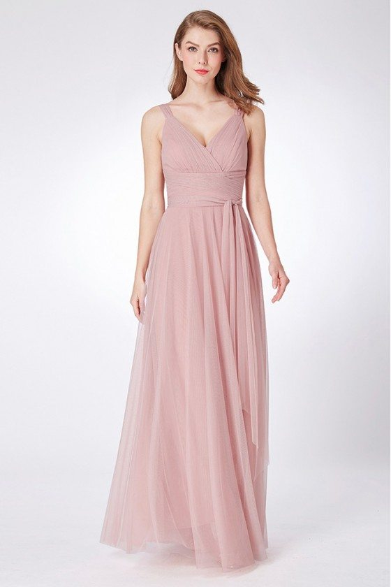Dusty Rose Simple Pleated Bridesmaid Dress Long Tulle
