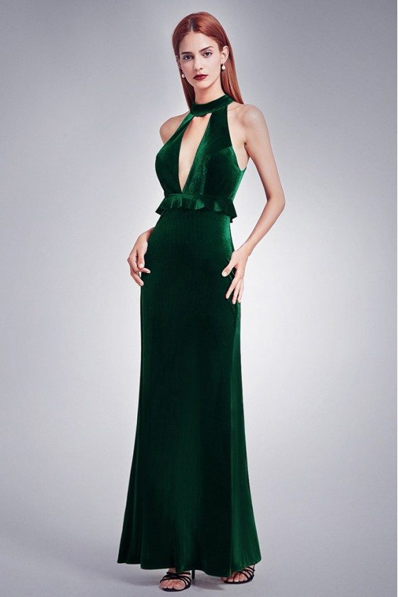 Dark Green Sexy Deep V Formal Dress With High Collar Neck