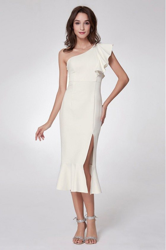 Simple Madi Bodycon Formal Dress With One Falbala Shoulder