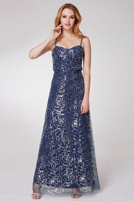 Navy Blue Long Prom Dress...