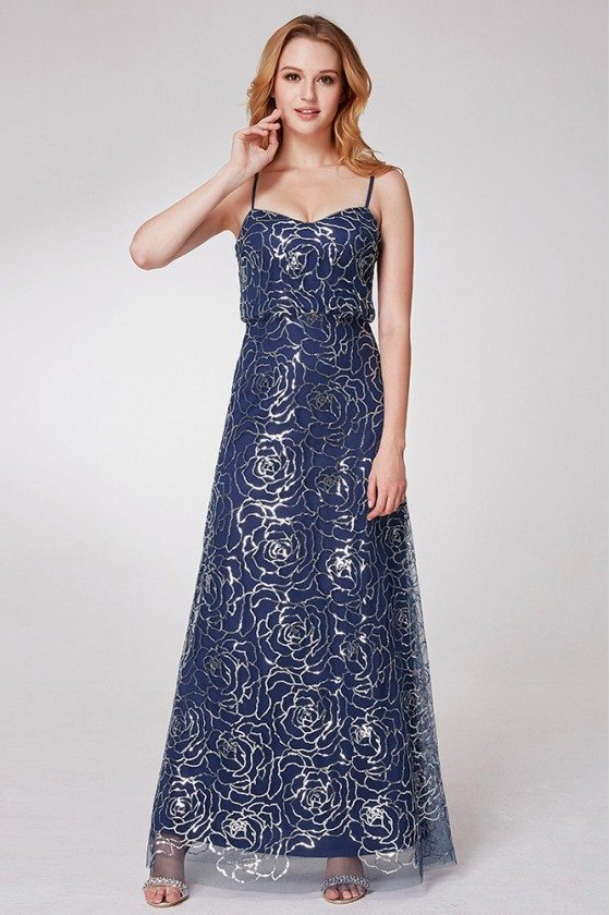 Navy Blue Long Prom Dress With Sequined Roses