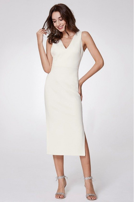 Simple Slit Casual Dress With Double V Neck In Midi Length