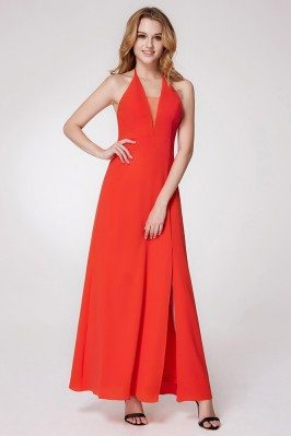 Orange Long Halter Slit...