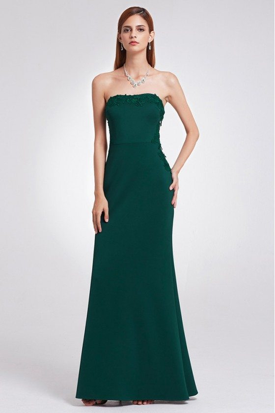 Elegant Dark Green Long Formal Dress Strapless With Lace