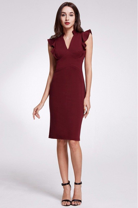Modest V Neck Burgundy Short Formal Dress With Ruched Cap Sleeves
