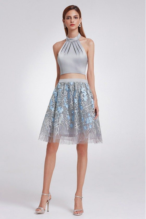 Unique Grey Lace Crop Top And Tutu Skirt Prom Dress