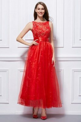 Red Tulle Long Dress With Sash Onsale