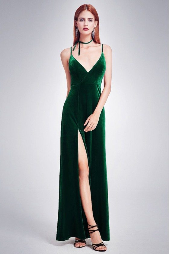 Long Slit Dark Green Velvet Formal Gown Spaghetti Straps