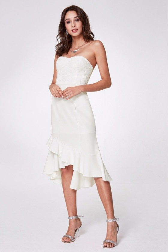 Hi Low Strapless White Short Party Dress With Lace Bodice
