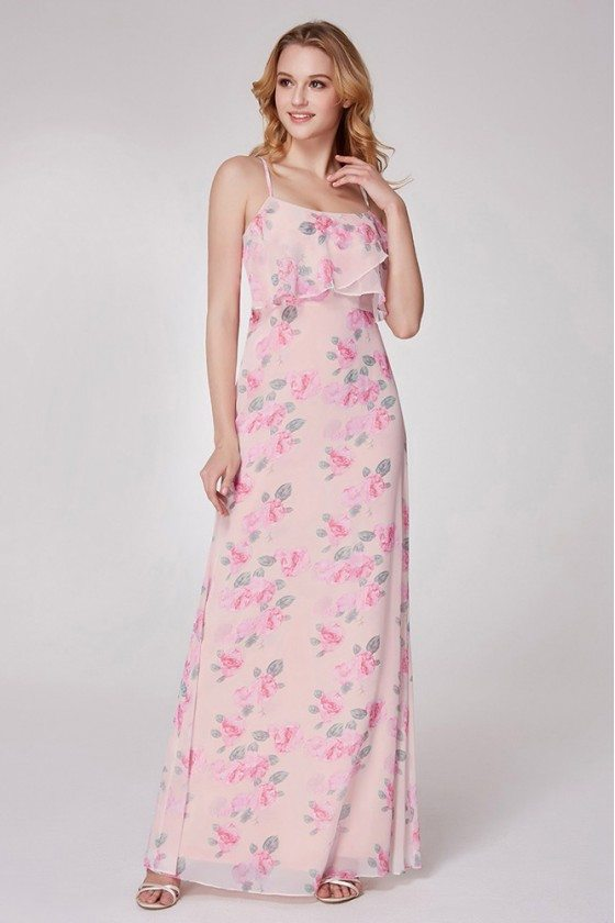 Floral Printed Pink Feminine Long Bridesmaid Dress For Special