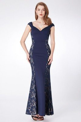 Navy Blue Mermaid Lace...